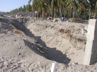 Trench for a seawall