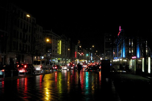 Berlin night street in rain
