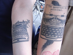typewriter tattoos - one typewriter is saying The Personal Is Political and the other belongs to my friend and GETV star Irina Slutsky