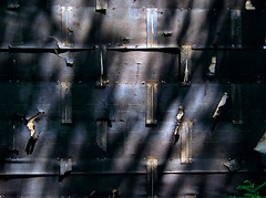 sombra e luz... (bruce grant) Tags: light philadelphia construction shadows meetup demolition dappled tarpaper