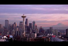 Seattle (alterednate) Tags: seattle sunset usa mountain cinema topf25 beautiful hometown rainier spaceneedle kerrypark tccomp011