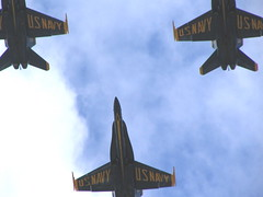 The Blue Angels fly directly over North Beacon Hill during Seafair. Photo by Wendi.