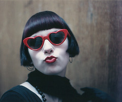 Pucker Up! (Angela.) Tags: slr film college me 35mm glasses fantastic kiss heart vanity goth martini lips scan explore scanned pout flapper angela mole 1990s beautymark onetopfave explored