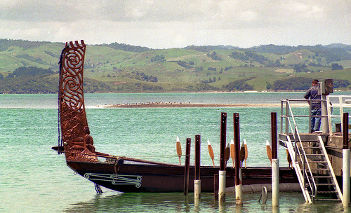 Tainui waka at Raglan, New Zealand 1992