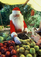 Six months till Christmas! (eye2eye) Tags: santa christmas fruit santaclaus bermuda fruitstand 1977