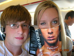 me and tyler durden (calley rae) Tags: chicago me airplane reading brother books fightclub tylerdurden chuckpalanhiuk