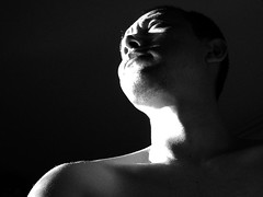 1st of 40 (joto25) Tags: light shadow bw white selfportrait man black male dark day shoulder joto25 thyear jotography jtloh