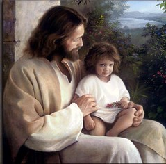 Jesus with little one by freestone