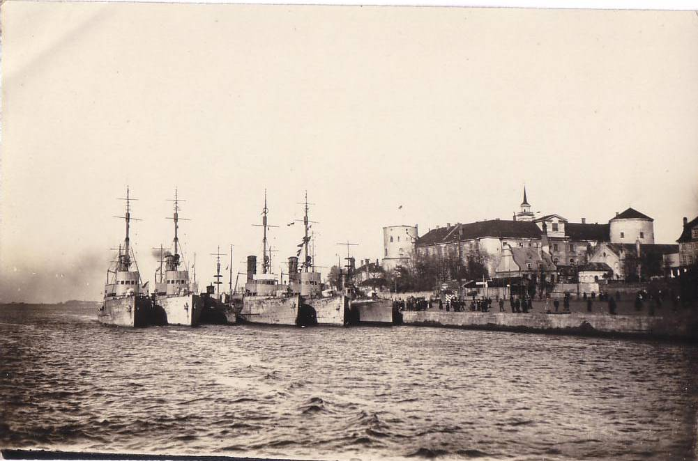 German warships (Minensucher) in Riga, river Daugava, near the Baltic Sea.
