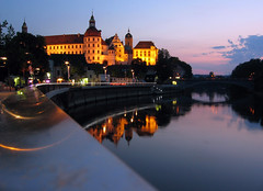 Castle and river (roomman) Tags: 2005 light sunset mountain reflection castle art topv111 night river germany bayern deutschland bavaria stream mood rail danube donau neuburg skz neuburgdonau
