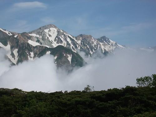 雲海上の白馬三山