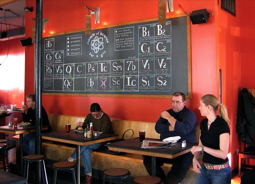 The menus at the Miracle of Science are in periodic table format