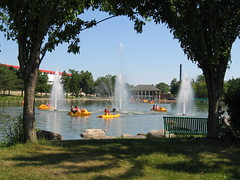 Beloit Lagoon Paddle Boats and Fountains (OldOnliner) Tags: june wisconsin parks riverfront beloit paddleboats calendarphoto 2006calendarsample