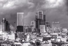 Downtown Madrid, Skyline (robin denton) Tags: downtown madrid spain urbanlandscape urban landscape monochrome bw cityscape city blackwhite blackandwhite buildings modernarchitecture architecture espana