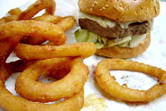 Burger & rings (Heather Leah Kennedy) Tags: food burger rings cheeseburger hamburger onion fried greasy