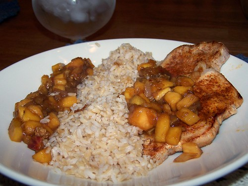 Skillet Pork with Sweet Balsamic Peaches and Brown Rice