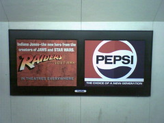 Vintage BART Ads (gohlkus) Tags: cameraphone vintage advertising bart pepsi raiders raidersofthelostark pursuitofhappyness