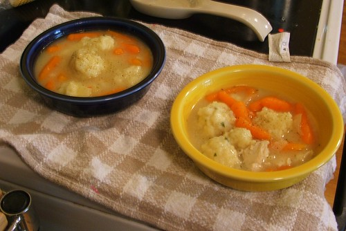 chicken and dumplings, dished and peppered