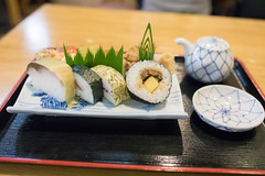 Kyoto style sushi (Apricot Cafe) Tags: japan kyoto minikyoto2016 sigma35mmf14dghsmart autumn delicious japanesefood lunch nopeople refreshing relaxing selectivefocus sushi tasty tranquility traveldestinations