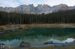 Nature Embrace (Giuseppe Sapori) Tags: dolomites dolomiti tre cime lavaredo lake carezza reflections details mountains rocks sky clouds