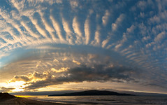 Kapiti Island 3 shot pano. (bob_katt) Tags: kapiti island northisland newzealand paraparaumu cloud colour coast rangituhi channel canon eos500d sky sunset sea silhouette sand sun weather wave landscape panorama