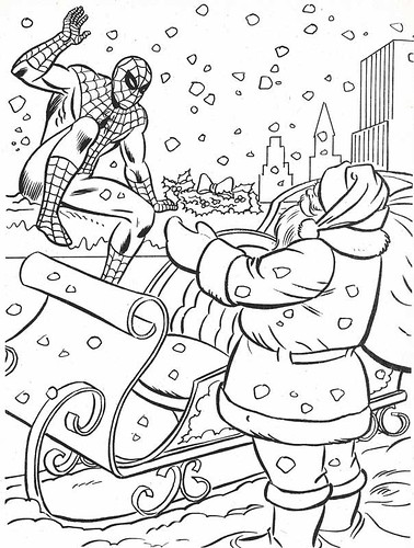 the marvel super heroes christmas coloring book page