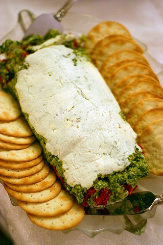 goat cheese, pesto, tomato terrine