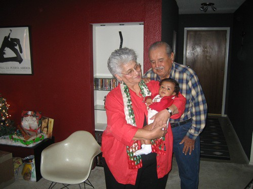 great grandparents and akello on christmas