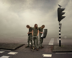 Slow Down (Mattijn) Tags: music fog cat trafficlight traffic surreal clones photomontage crow pino hilversum mattijn crossingsection