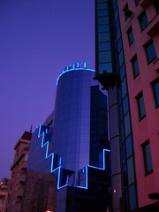 When the night comes (horstgeorg) Tags: light reflection colors architecture night sofia bulgaria skyarchitecture anawesomeshot
