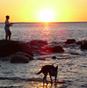 Sunset Fishing with Dog