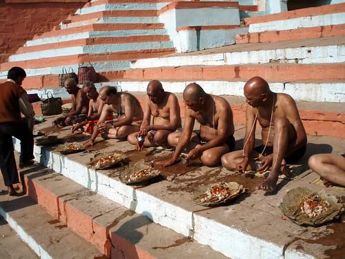 Priest preparing pooja