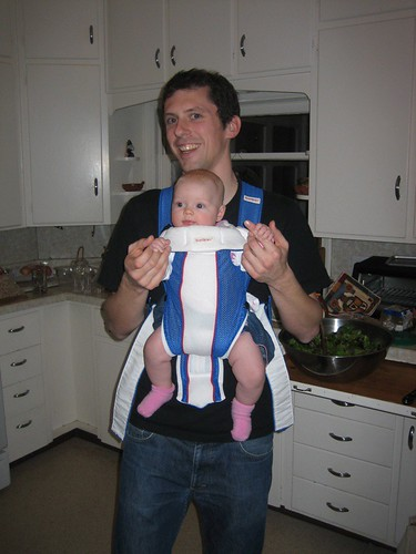 Trying out the Baby Bjorn