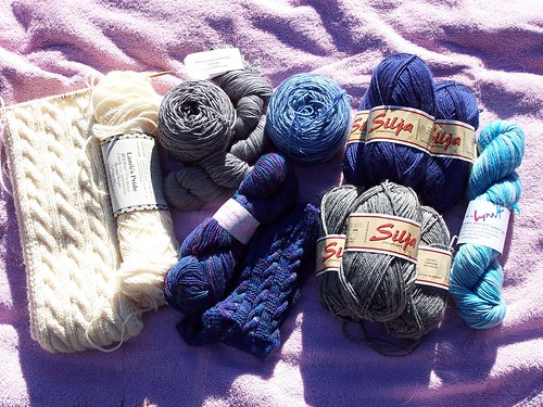 Blue, white and gray stash