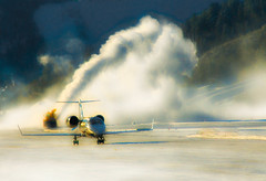 Blowing Snow! (RottieLover) Tags: winter snow plane sunrise airplane airport nikon colorado aircraft d200 aspen blowingsnow learjet 18200mm 18200mmf3556gvr nikonstunninggallery lr60 impressedbeauty