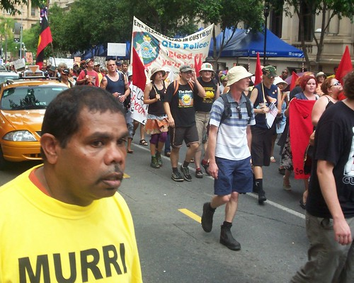March passes cnr of George St and Queen St Mall - Invasion Day Rally and March, Brisbane, Queensland, Australia 070126-1
