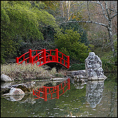 Japanese Gardens at the BBG 2 (Southernpixel - Alby Headrick) Tags: bridge winter sunset red usa reflections photography birmingham bravo shadows searchthebest alabama japanesegardens alby birminghambotanicalgardens i500 outstandingshots gtaggroup southernpixel outstandingshot intrestingness6 favoritegarden explore013107 diamondclassphotographer southernpixelcom