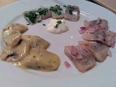 A plate of pickled herring