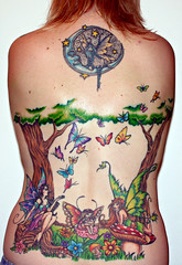 My Back ~ 7 sessions (Kerrie Lynn Photography (Sugaree_GD)) Tags: flowers mushroom tattoo butterflies fairy views fairies 5000 backpiece amybrown 3000views explored staceysharp sugareegd geminitattoo inkalternative keirwells