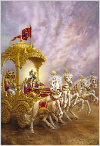Krishna speaks to Arjuna before the battle