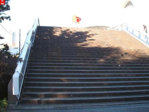 東京辰巳国際水泳場観客席にあがる階段