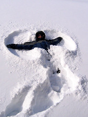 Sarah makes a snow angel!