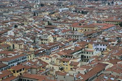 Red tiled roofs of Florence as viewed from the top of the Duomo