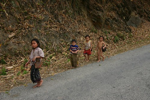 Lao kids along the road side...
