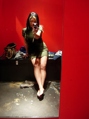 Fitting Room (wEnDaLicious) Tags: red portrait selfportrait reflection me girl self redroom asiangirl fittingroom mirrormirroronthewall barelegs hottopicstore