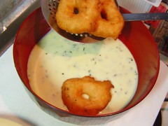 Vada/garelu in seasoned yogurt