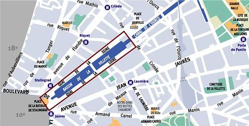 Carte du Bassin de la Villette
