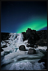 xarrfoss (hauxon) Tags: blue snow green ice water night river stars waterfall iceland aurora thingvellir northernlights ingvellir xar xarrfoss oxararfoss