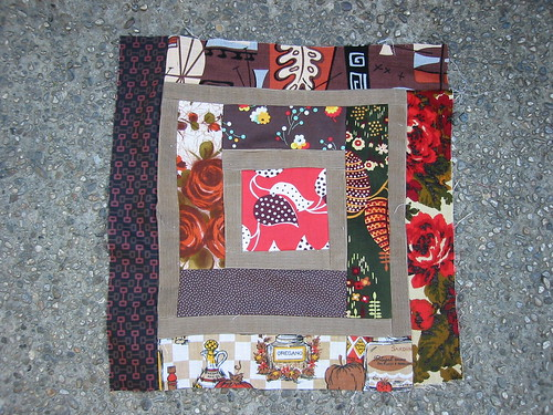 my second log cabin quilt square/pillowtop