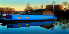 Reflections in Blue (Flying Fin) Tags: england thames marina canal bravo narrowboat caversham canalboat supershot magicdonkey instantfave wowiekazowie diamondclassphotographer flickrdiamond canalboatmarina 436explore150307